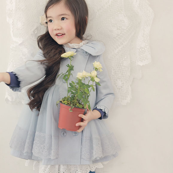 Clothing children's clothing 2013 spring patchwork sweet female child trench outerwear