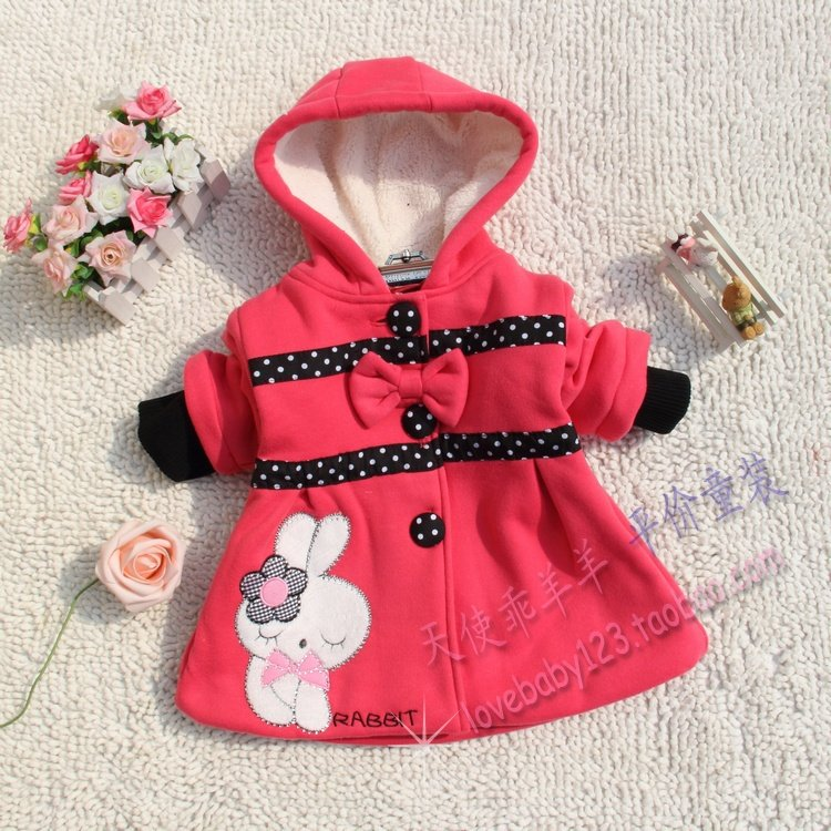 Clothing female child outerwear 2012 autumn 100% cotton velvet Sweets rabbit baby small trench female child overcoat dress