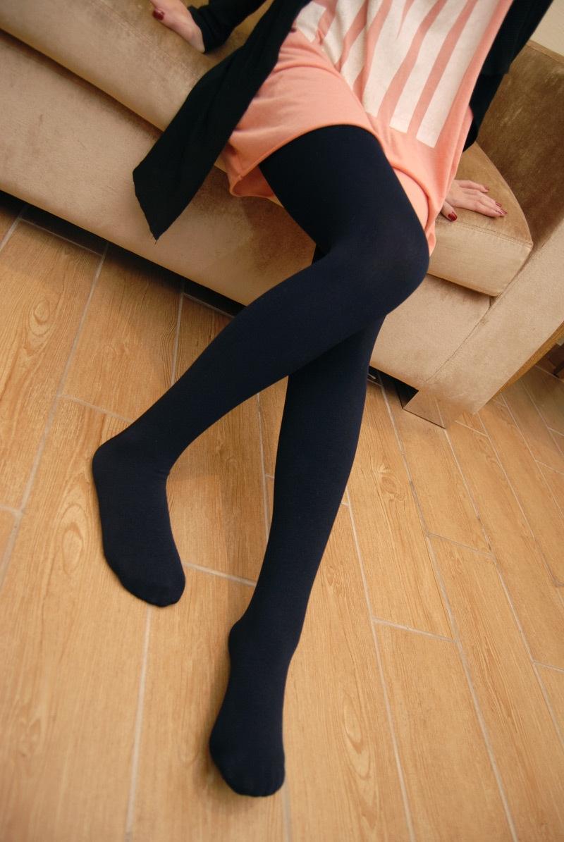 Comfortable women's autumn and winter slim liner fleece black stockings legging