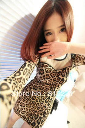 Commuter miniskirt is less than 75 cm long sleeve piece contracted leopard grain dress dress free of charge