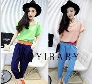 Contrast color big harlan jumpsuit with short sleeves   free shipping P2