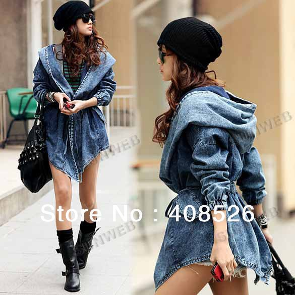 Cool Fashion Women Lady Wind Denim Trench Coat Hoodie Hooded Outerwear Jean Blue free shipping 8629