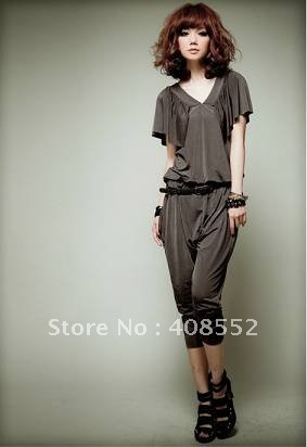 Cool V-neck butterfly sleeves plain elastic cloth piece pants
