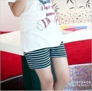 Cotton maternity clothing summer blue all-match black and white stripe maternity shorts capris