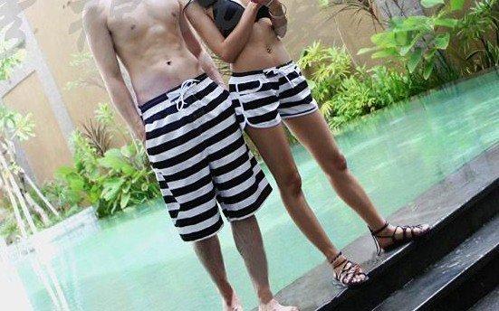 Cotton stripe lovers beach pants flower beach pants shorts