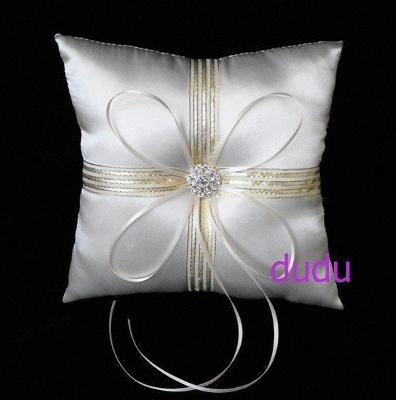 Cream Satin Wedding Ring Cushion/Bridal Pillow