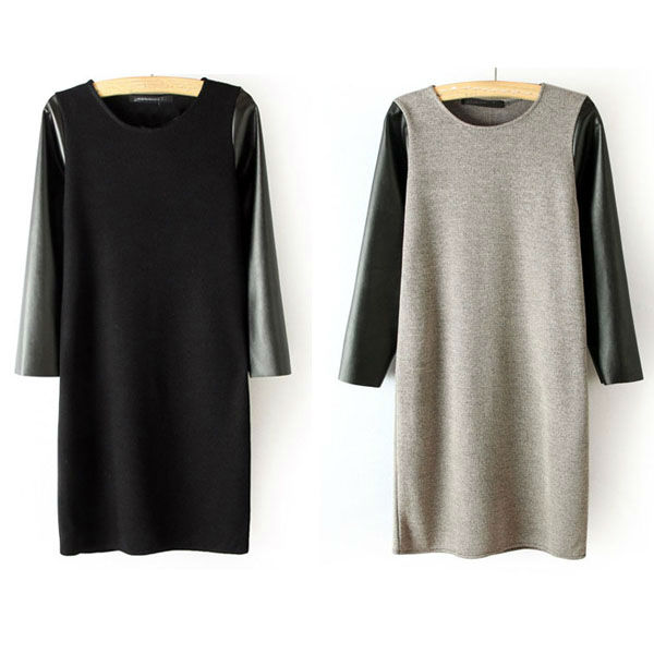 Crew Neck PU Leather Sleeves Stitching Knitted Dress WF-3882
