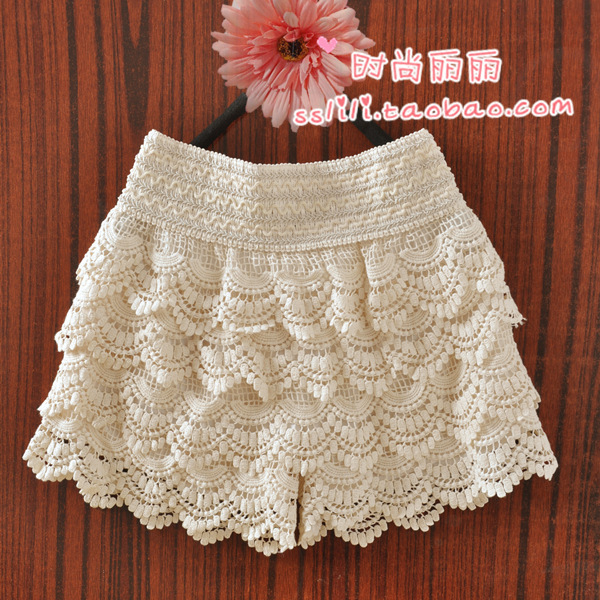 Crochet lace shorts wave tassel elastic basic vintage cake skirts