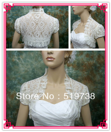 Custom Made Ivory Wedding Shawls Wraps Bridal Cape Short Sleeve Lace Bridal Jacket