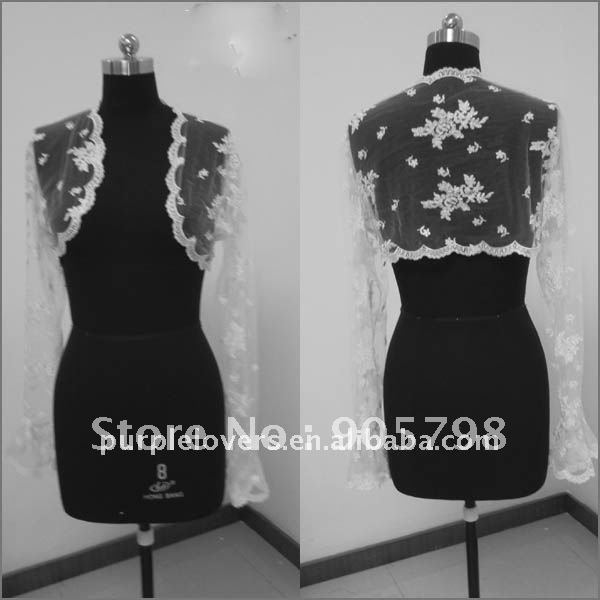 custom made long sleeve appliqued lace wedding jacket