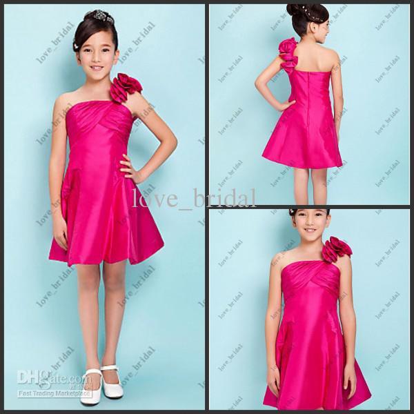 Custom Made New A-line Fuchsia One-Shoulder Short/Mini Taffeta Junior Bridesmaid Dresses Flower girl
