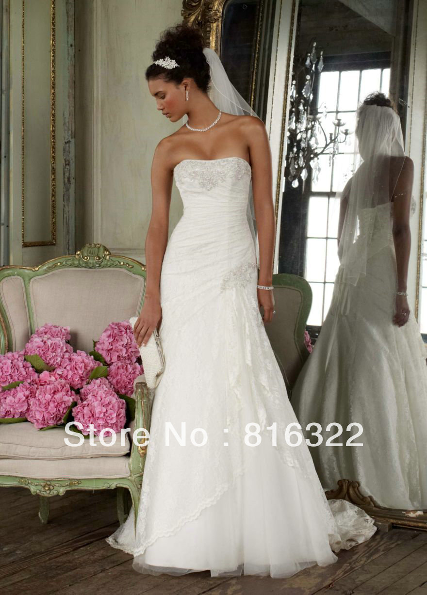 Custom Made Petite Lace Fit-and-Flare Gown with Side Split Style ...