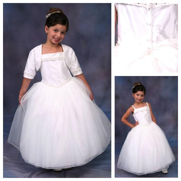 Custom Made Top Quality Rectangle Thin Pear Square Basque Waist Organza Beading Tulle Overlay Sleeveless Satin Flower Girl Dress