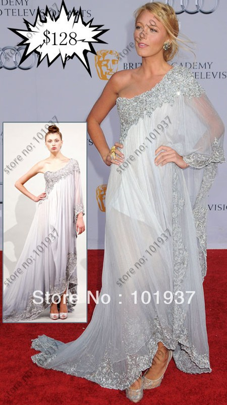 customized made cheap blake lively bafta dress red carpet dresses evening glitter white celebrity dresses real sample hk07