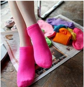 Cute candy colored cotton socks solid socks ship socks women