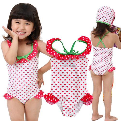 Cute red strawberries girls Siamese Hooded Spa Swimsuit