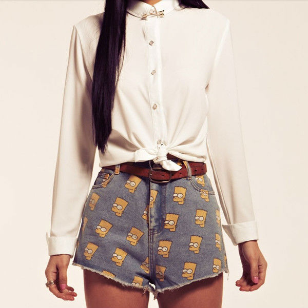 CUTE SIMPSON PRINTED JEANS SHORTS/ HOT PANTS SIZE S M L 0154#