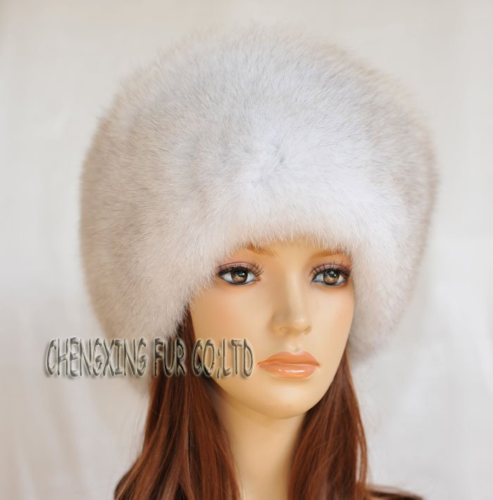 CX-C-04 Natural Colour Fox All Fur Zhivago Pill Box Fur Hat