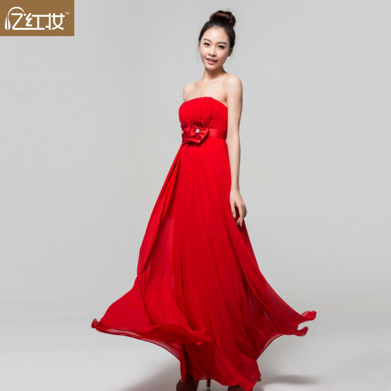 Dance Prom Formal Dresses Evening Gowns Party Women's  dinner   red tube top high waist long  bridal   toast maternity    LF299