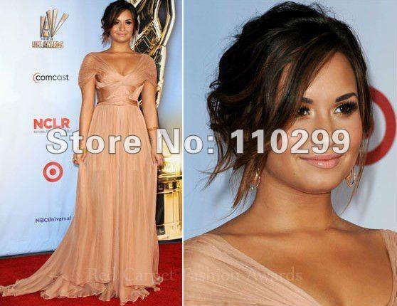 Demi Lovato 2011 ALMA Awards A-line Straps Sweetheart Floor Length Chiffon Celebrity Evening Dress 91301