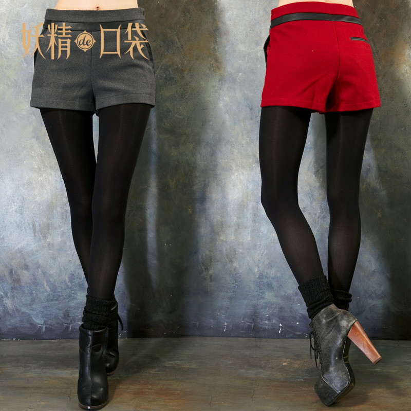DEMONSTYLE  autumn and winter patchwork all-match wool shorts women's shorts