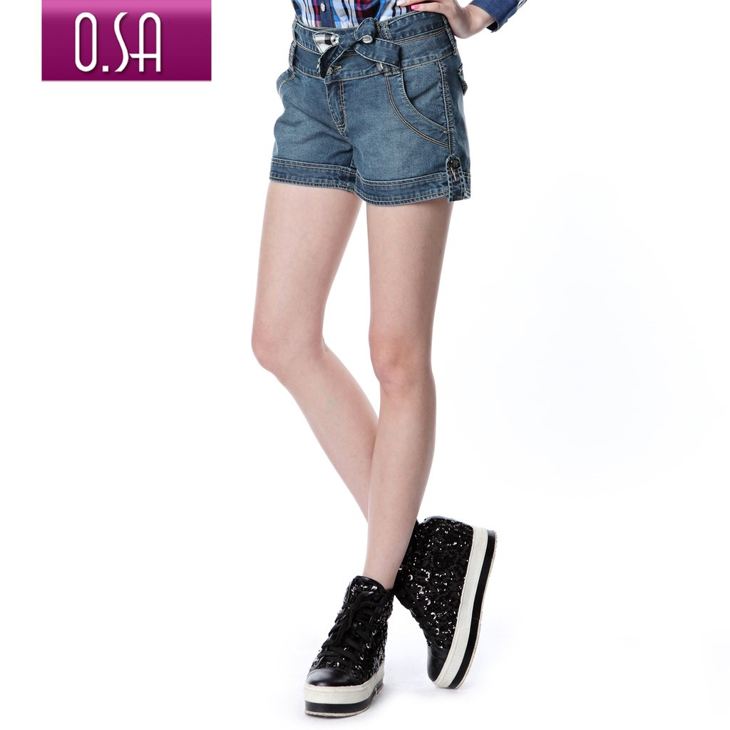 Denim blue O.SA 2012 summer women's straight denim shorts k23154