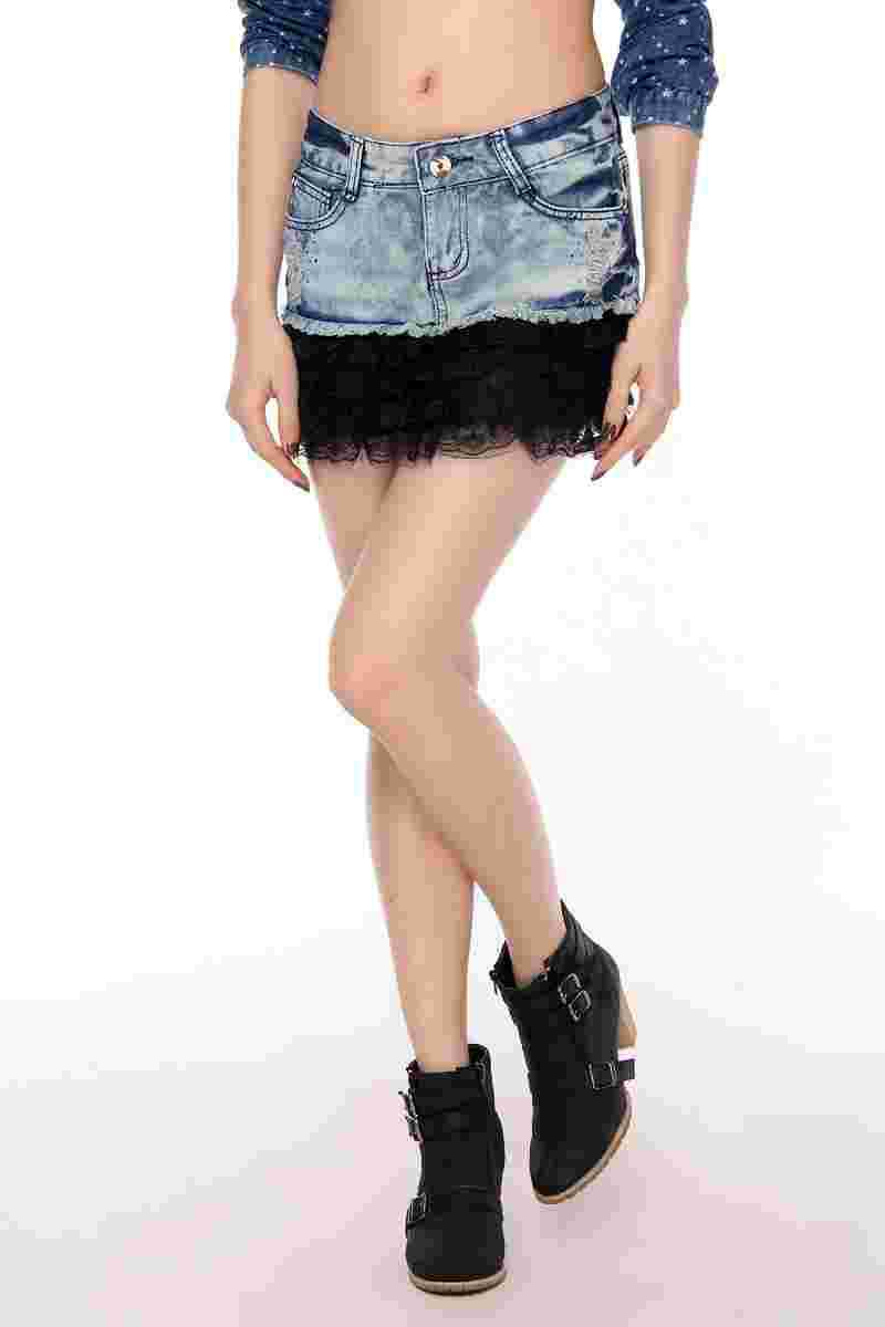 Denim Skirt Denim Skirt Hot Drilling Holes In Lace Skirt Free Shipping (No. SLA149)