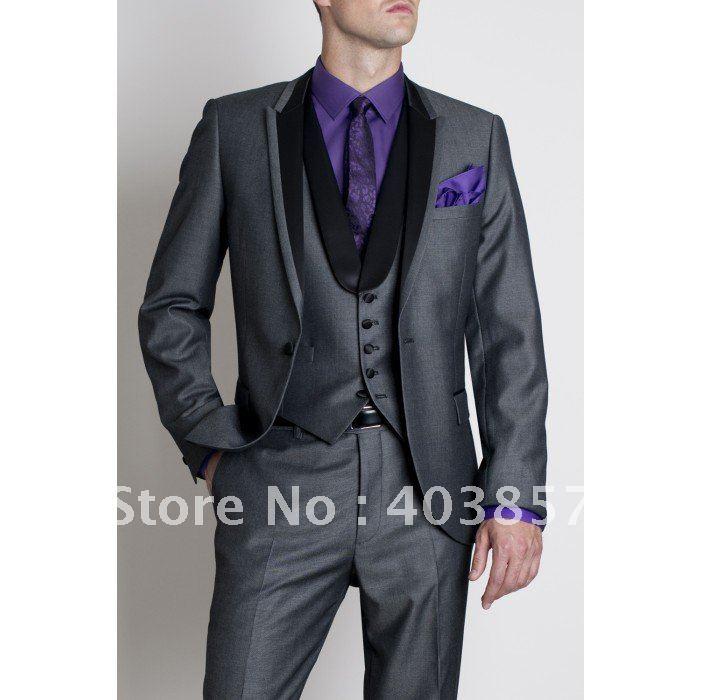 Designer Wedding Suit 2011 Fashion Dinner Jacket Tuxedo Custom Made Suit Grey Suit Free Shipping  277