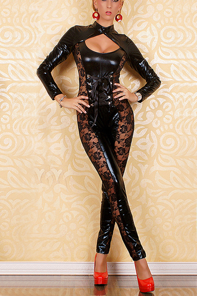 Direct Sell! Black High Elastic Lace Side Long Sleeve Catsuit  Women Fashion Floral Bodysuits LB1208