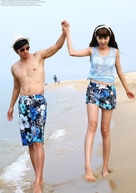 Discount!! New open store promotion!! 2013 Lovers beach pants blue flower fashion Board shorts for Men Women 2pcs free shipping