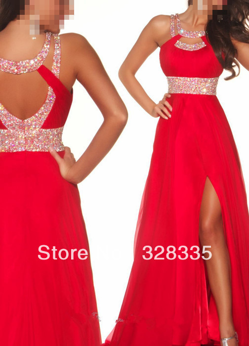 Discount Top Hatler Beads and Sequins Backless Slit Red Long Prom Evening Dress 2013 Free Shipping