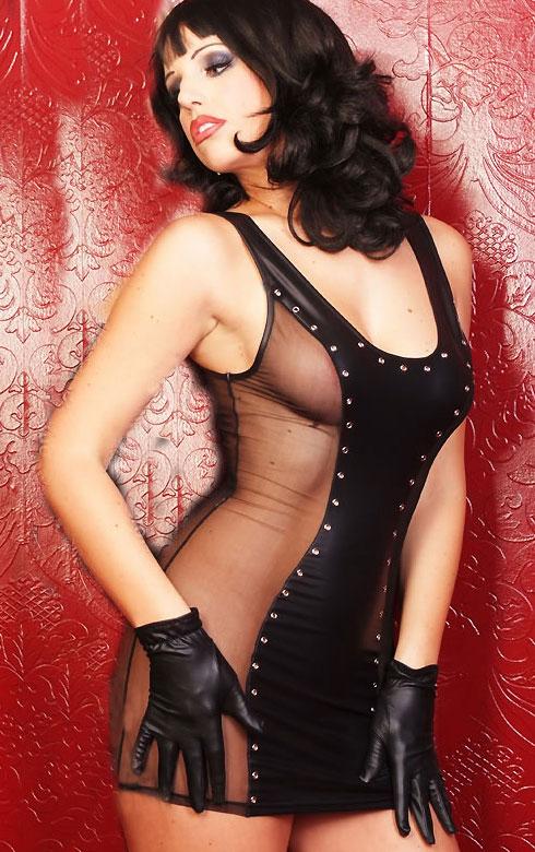 Discounted Women Sexy Black Leather Rivet Tank Tube Stretch Mini Clubwear Dress Skinny Patchworked Sheer Slim Dress