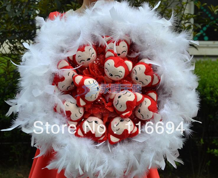 Doll cartoon bouquet wedding gift natural crafts plush toy temulation flower Christmas Gift ZA622