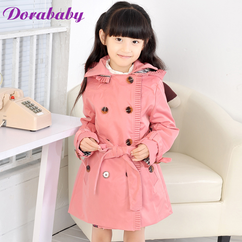 Dora baby children's clothing female child spring big 2013 children's clothing hooded double breasted female child trench