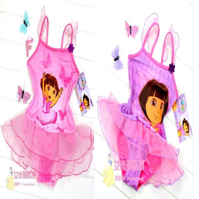 Dora child swimwear female child princess one piece swimwear bikini split swimwear swimsuit tulle dress female child