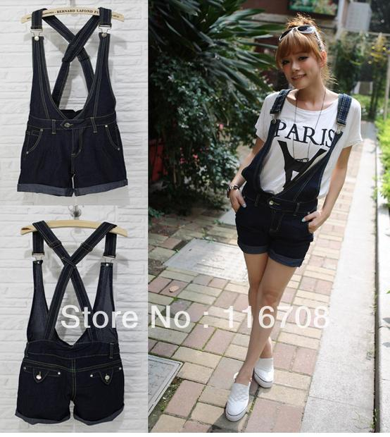 Dorp shipping 2013 new arrival fashion women's Dark Blue cross denim bib pants suspenders shorts bd-004