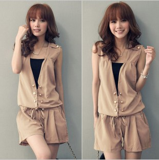 Double breasted sleeveless draw string jumpsuits   free shipping P4