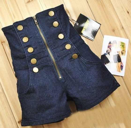 Double Breasted Zipper High Waist Shorts Deep Blue free shipping