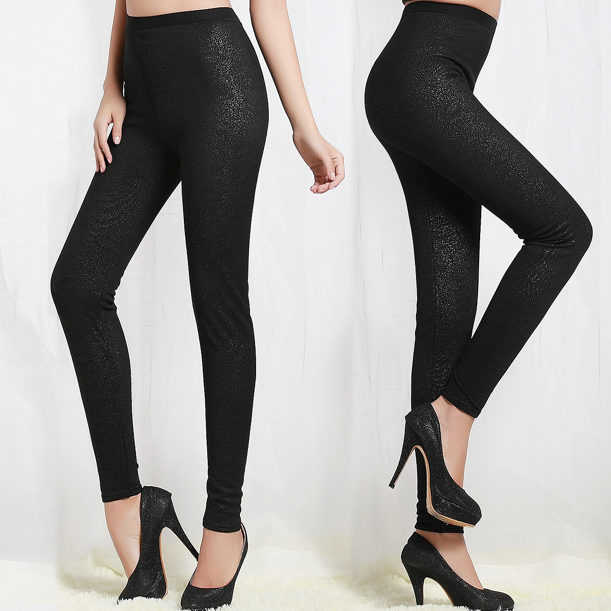 Double layer thickening plus velvet abdomen drawing butt-lifting basic body shaping warm pants silk sk85
