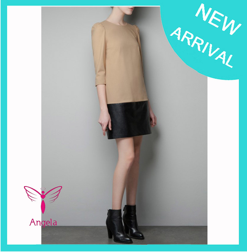 Dress Summer 2013 Women's Leather Sleeves Knit Dress, leather dresses for women freeshipping SK-049