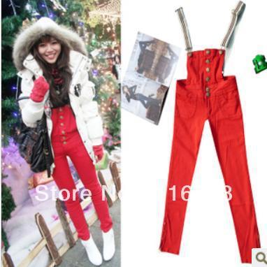 Drop shipping 2013 fashion red pencil pants vivi one-piece jeans slim hip bib pants bd-007
