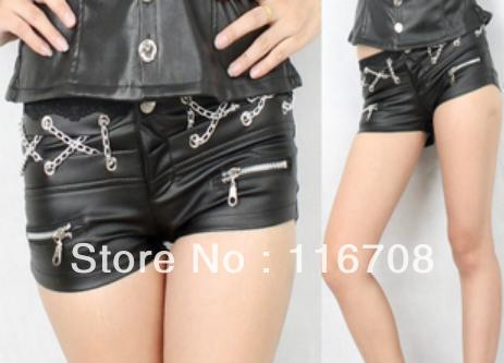 Drop shipping 2013 new arrival fashion ultra-short leather pants jazz dance ultra-short low-waist PU shorts st-107