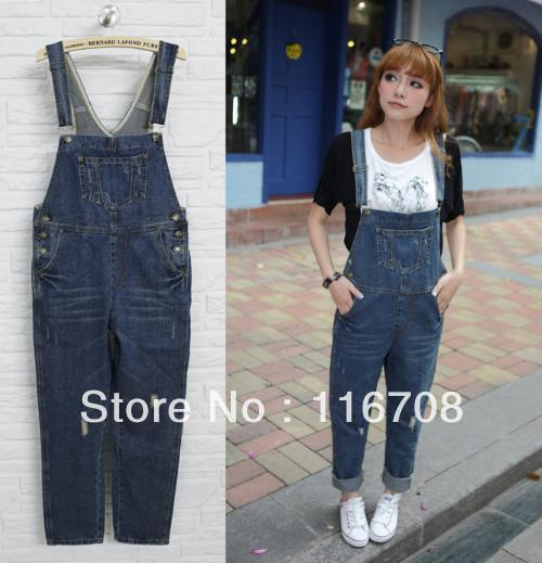 Drop shipping 2013 new arrival women's water wash distrressed casual denim bib pants trousers overalls rompers bd-001