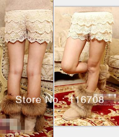 Drop shipping 2013 spring and summer new arrival women's 010 cutout crochet sweet knitted shorts sk-056