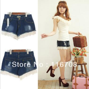Drop shipping 2013 spring and summer new arrival women's lace decoration hole slim denim shorts st-072