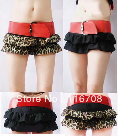 Drop shipping 2013 spring and summer new arrival women's red wide belt leopard print chiffon sexy miniskirt pants shorts st-064