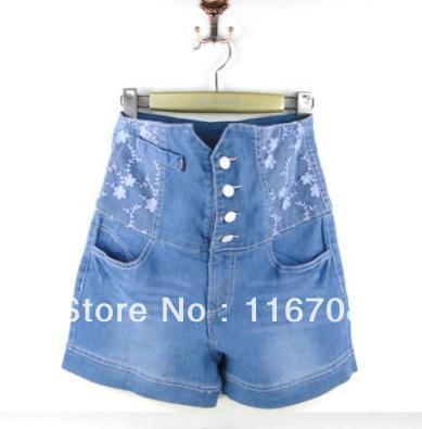 Drop shipping 2013 spring and summer new arrival women's single breasted lace water wash high waist denim shorts ST-076