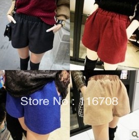 DROP SHIPPING HOT SELLING WHOLESALE  winter brief all-match elastic strap woolen shorts boot cut jeans FOR WOMEN st-002