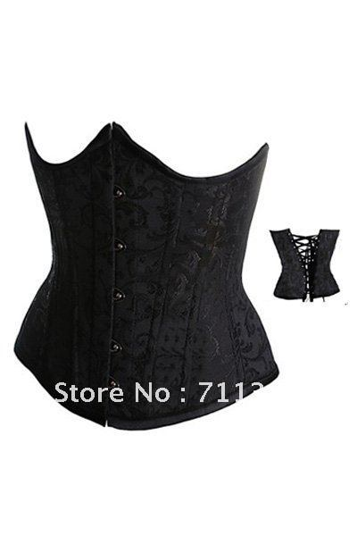 Dropshipping Satin Embroider Black Steel Bustier Underbust Gothic Sexy Corset Dress Women ( S,M,L,XL,2XL,3XL,4XL,5XL,6XL) LB4024