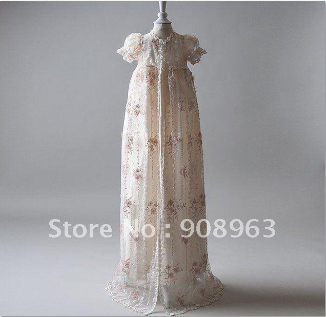 Dupioni Silk In Ivory Gwyneth Christening Gown Set